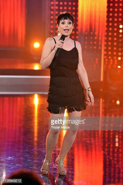 Francine Jordi performs at the 'Meine Schlagerwelt Die Party mit Ross Antony' MDR TV show recording at Eventpalast on February 19 2019 in Leipzig...