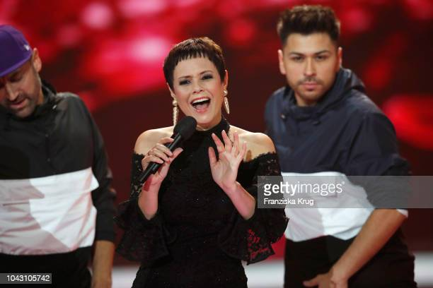 Francine Jordi performs during the television show 'Willkommen bei Carmen Nebel' at Velodrom on September 29 2018 in Berlin Germany