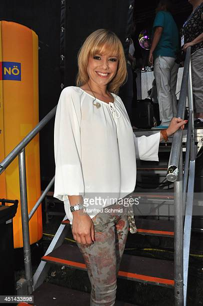 Francine Jordi poses backstage during the Donauinselfest at Donauinsel on June 28 2014 in Vienna Austria The Danube Island Festival the largest...