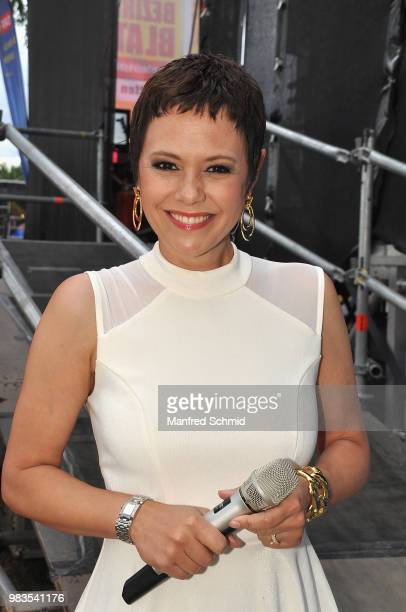 Francine Jordi poses backstage during the Donauinselfest DIF 2018 Wien at Donauinsel on June 24 2018 in Vienna Austria