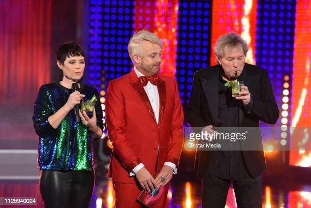 Francine Jordi Ross Antony and Bernhard Brink during the 'Meine Schlagerwelt Die Party mit Ross Antony' MDR TV show recording at Eventpalast on...