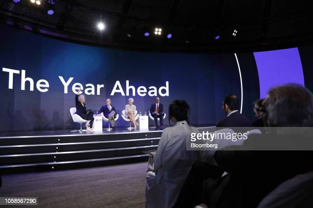 Francine Lacqua, editor at large and anchor for Bloomberg Television, from left, Michael Bloomberg, founder of Bloomberg LP, Christine Lagarde,...