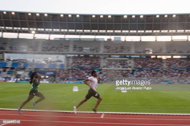 Francine Niyonsaba of Burundi and Caster Semenya of Sout Africa compete in the 800m Women of the IAAF Diamond League Meeting de Paris 2018 at the...