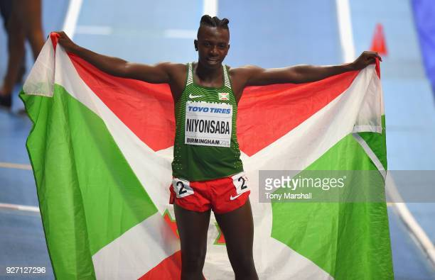 Francine Niyonsaba of Burundi celebrates winning the Women's 800m Final during Day Four of the IAAF World Indoor Championships at Arena Birmingham on...