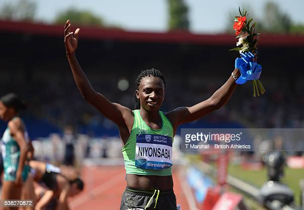 Francine Niyonsaba of Burundi celebrates winning the Women's 800m during the Birmingham Diamond League at Alexander Stadium on June 5 2016 in...