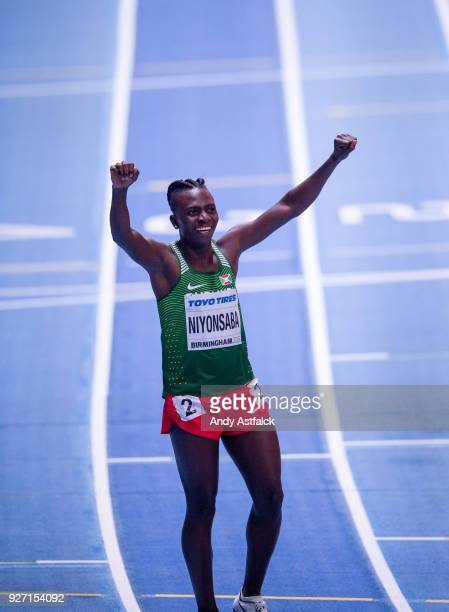 Francine Niyonsaba of Burundi celebrates winning Women's 800m Final on Day 4 of the IAAF World Indoor Championships at Arena Birmingham on March 4...