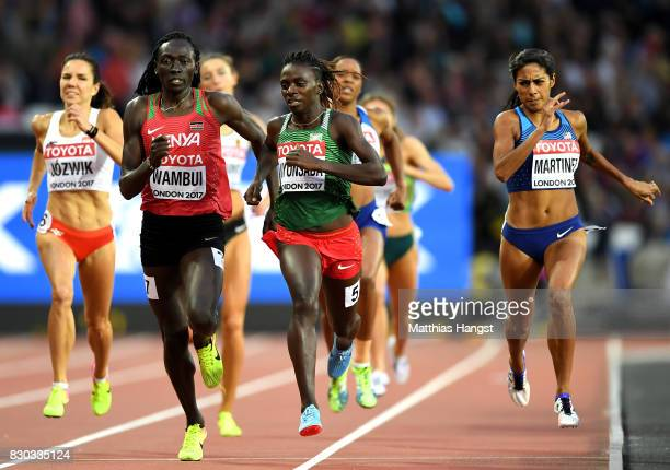Francine Niyonsaba of Burundi Margaret Nyairera Wambui of Kenya and Brenda Martinez of the United States compete in the Women's 800 metres semi...