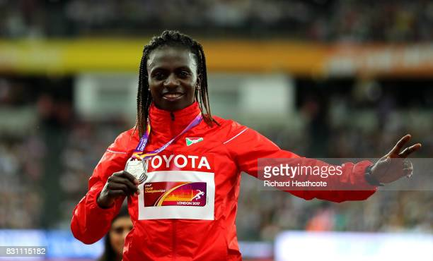 Francine Niyonsaba of Burundi silver poses with her medal for the Womens 800 metres during day ten of the 16th IAAF World Athletics Championships...