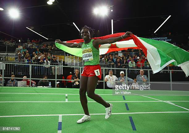 Francine Niyonsaba of Burundi wins gold in the Women's 800 Metres Final during day four of the IAAF World Indoor Championships at Oregon Convention...