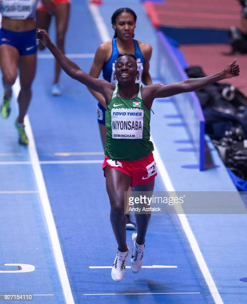 Francine Niyonsaba of Burundi wins the Women's 800m Final on Day 4 of the IAAF World Indoor Championships at Arena Birmingham on March 4 2018 in...