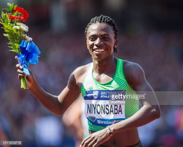 Francine NIYONSABA winner of the Women's 800 metres during the IAAF Diamond League meeting at Alexandra Stadium Perry Bar Birmingham on Sunday 5th...
