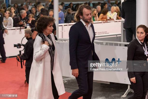 Francine Racette and Angus Sutherland are seen during Donostia award red carpet on September 26 2019 in San Sebastian Spain