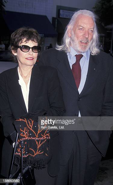Francine Racette and Donald Sutherland attend the premiere of Final Fantasy The Spirits Within on July 2 2001 at Mann Bruin Theater in Westwood...