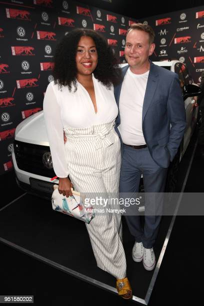 Francine Striesow and Devid Striesow attend the New Faces Award Film at Spindler Klatt on April 26 2018 in Berlin Germany
