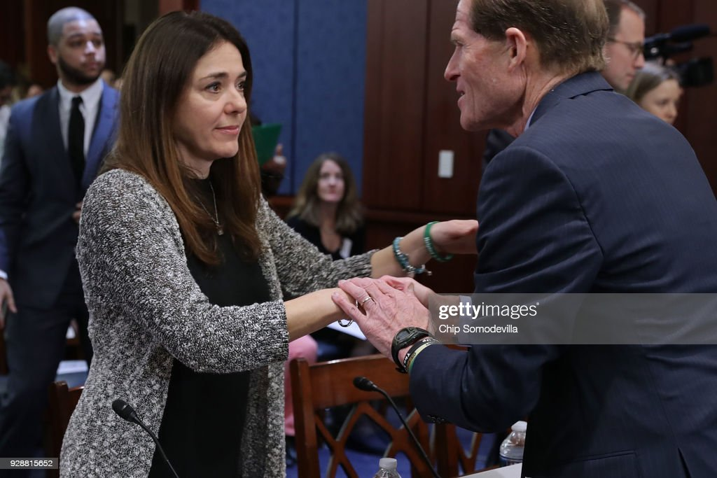 Francine Wheeler (L), mother Sandy Hook Elementary shooting victim Ben Wheeler, is greeted by Sen. Richard Blumenthal (D-CT) before a meeting about gun violence with U.S. Senate Democrats in the visitors center of the U.S. Capitol March 7, 2018 in Washington, DC. Senate Democrats called the meeting to hear from people who they said were missing from the debate on guns, including the parents of young gun violence victims from Florida, Virginia and Connecticut; law enforcement officials; students and teachers.