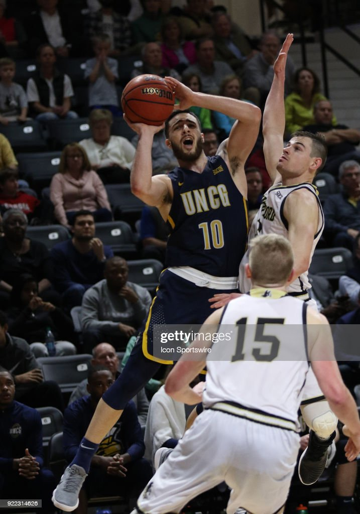 Francis Alonso (10) UNC Greensboro looks to shoot a shot during action against Wofford at Jerry Richard indoor stadium in Spartanburg,SC on Tuesday February 20, 2018.
