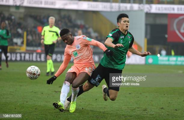 Francis Amuzu of Anderlecht and Naomichi Ueda of Cercle fight for the ball during the Jupiler Pro League match between Cercle Brugge KSV and RSC...