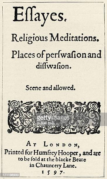 sir francis bacon philosopher stock photos and pictures getty images francis bacon title page of 1st edition of bacon s essays essayes religious meditations 1597