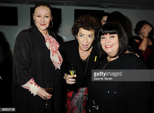 Francis Barber Janet Suzman and Dawn French attend the reception ahead of the London Evening Standard Theatre Awards at the Royal Opera House on...