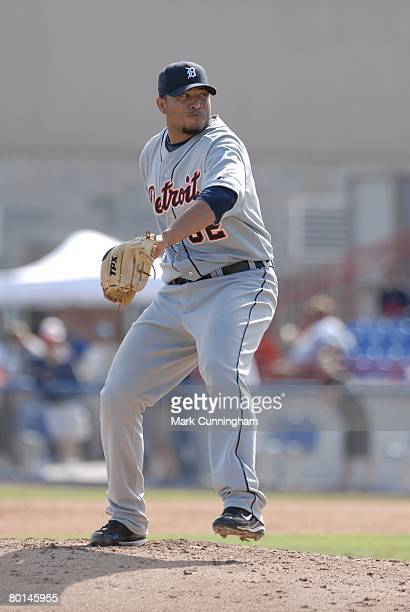 Francis Beltran of the Detroit Tigers pitches during the spring training game against the Toronto Blue Jays at Knology Park in Dunedin Florida on...