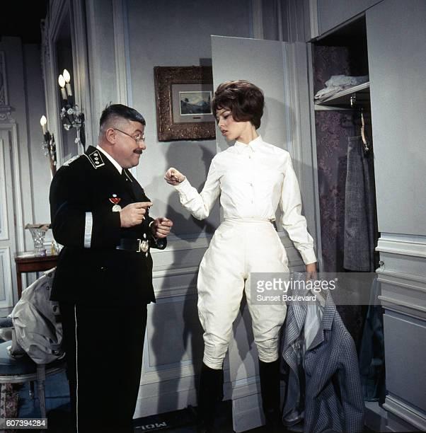 Francis Blanche and Brigitte Bardot on the set of Babette S'en VaTEn Guerre