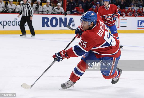 Francis Bouillon of the Montreal Canadiens fires a slap shot against the Los Angeles Kings during the NHL game on December 10 2013 at the Bell Centre...