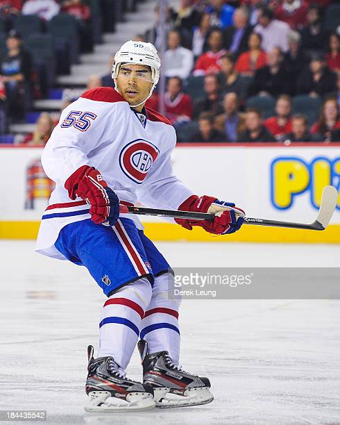 Francis Bouillon of the Montreal Canadiens skates against the Calgary Flames during an NHL game at Scotiabank Saddledome on October 9 2013 in Calgary...