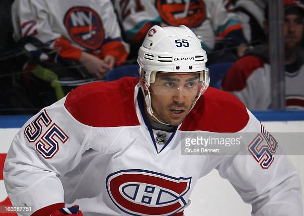 Francis Bouillon of the Montreal Canadiens skates against the New York Islanders at the Nassau Veterans Memorial Coliseum on March 5 2013 in...
