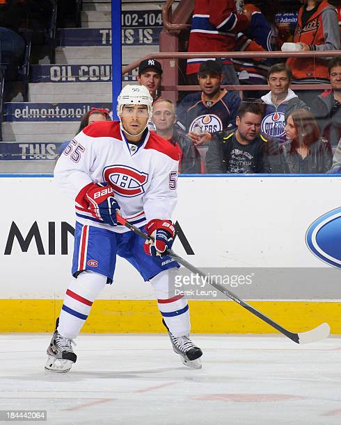 Francis Bouillon of the Montreal Canadiens skates against the Edmonton Oilers during an NHL game at Rexall Place on October 10 2013 in Edmonton...