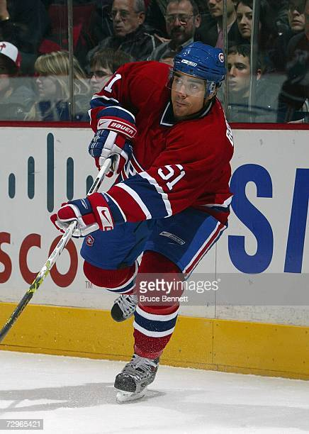 Francis Bouillon of the Montreal Canadiens skates against the Tampa Bay Lightning during their NHL game at Bell Centre on January 2 2007 in Montreal...