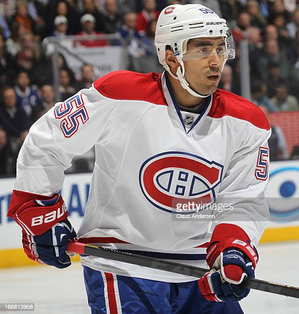 Francis Bouillon of the Montreal Canadiens skates against the Toronto Maple Leafs on April 13 2013 at the Air Canada Centre in Toronto Canada The...