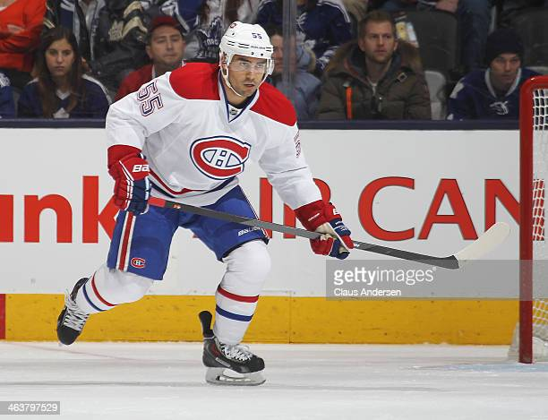 Francis Bouillon of the Montreal Canadiens skates against the Toronto Maple Leafs during an NHL game at the Air Canada Centre on January 18 2014 in...