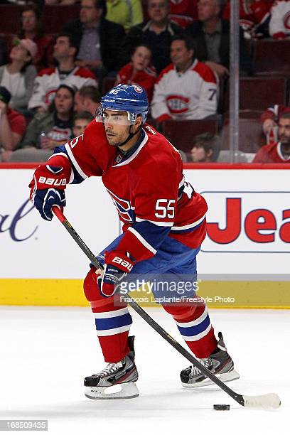 Francis Bouillon of the Montreal Canadiens skates with the puck against the Ottawa Senators in Game Five of the Eastern Conference Quarterfinals...
