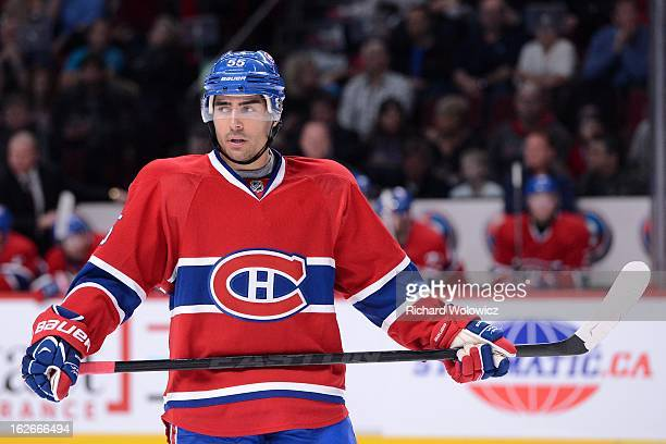 Francis Bouillon of the Montreal Canadiens waits for a faceoff during the NHL game against the New York Rangers at the Bell Centre on February 23...