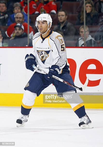 Francis Bouillon of the Nashville Predators skates against the Ottawa Senators during a game at Scotiabank Place on October 22 2009 in Ottawa Canada