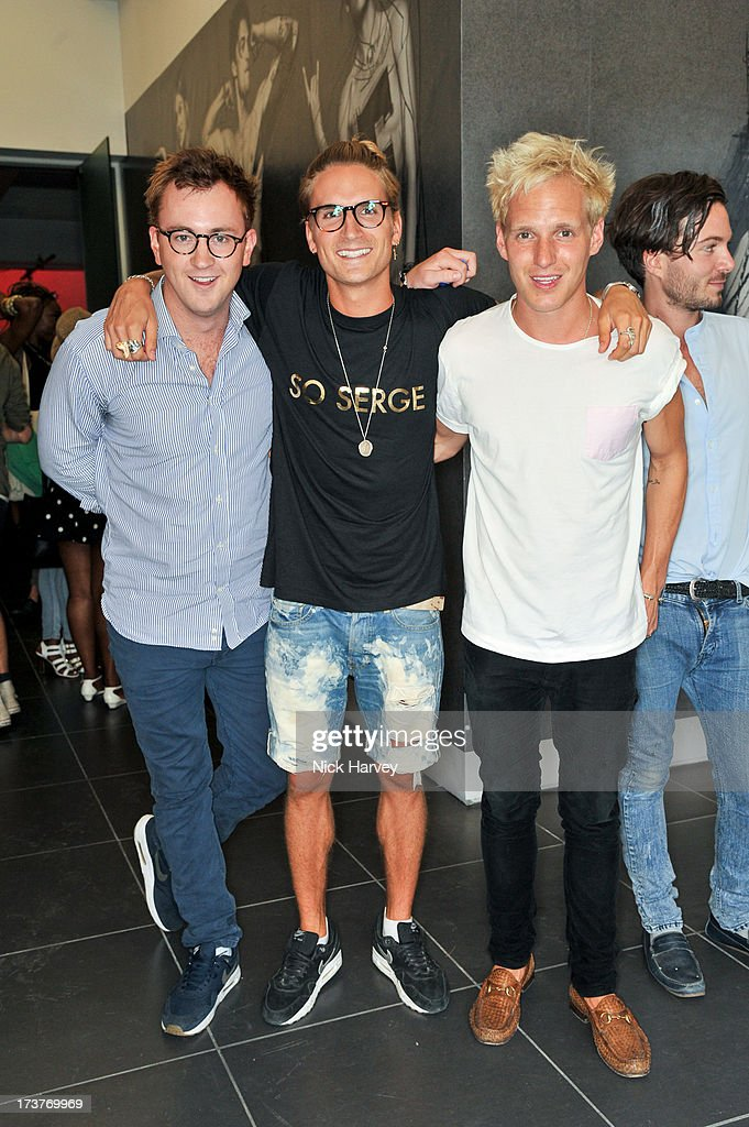 Francis Boulle, Oliver Proudlock and Jamie Laing attend the campaign launch party for French Connection & Rankin Full Service on July 17, 2013 in London, England.