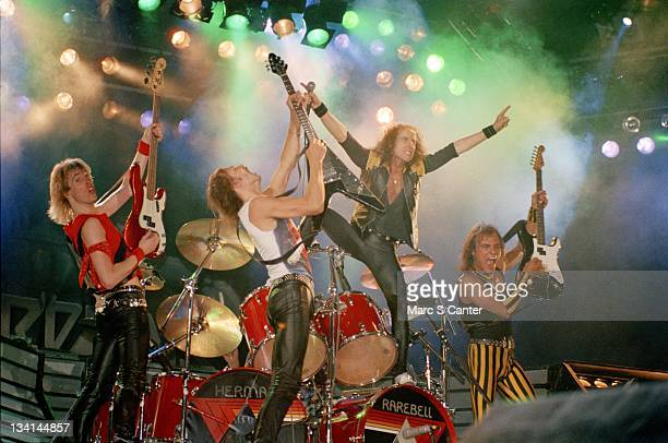 Francis Buchholz Rudolf Schenker Klaus Meine and Matthias Jabs of the rock band Scorpions end their show at the Los Angeles Forum on April 25 1984 in...