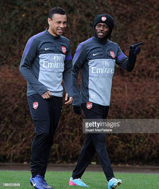 Francis Coquelin and Gervinho of Arsenal before a training session at London Colney on April 12 2013 in St Albans England