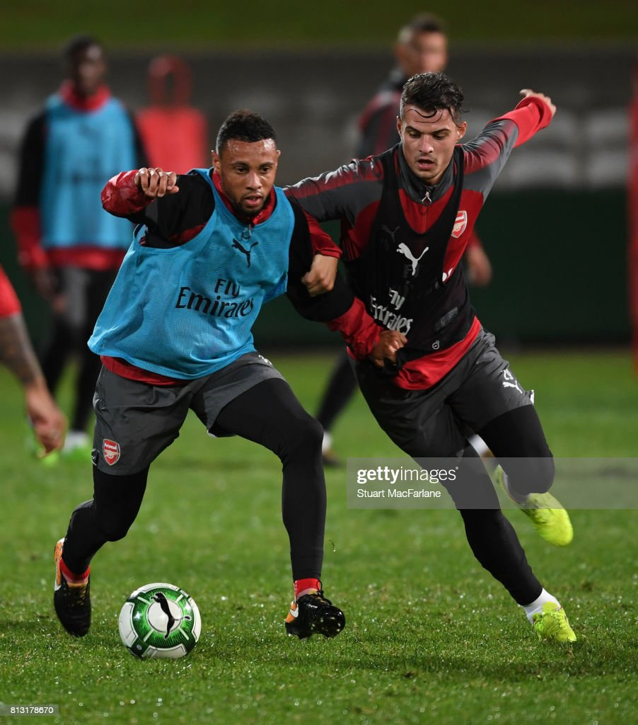 Francis Coquelin and Granit Xhaka of Arsenal during a training session at the Koraragh Oval on July 12, 2017 in Sydney, New South Wales.