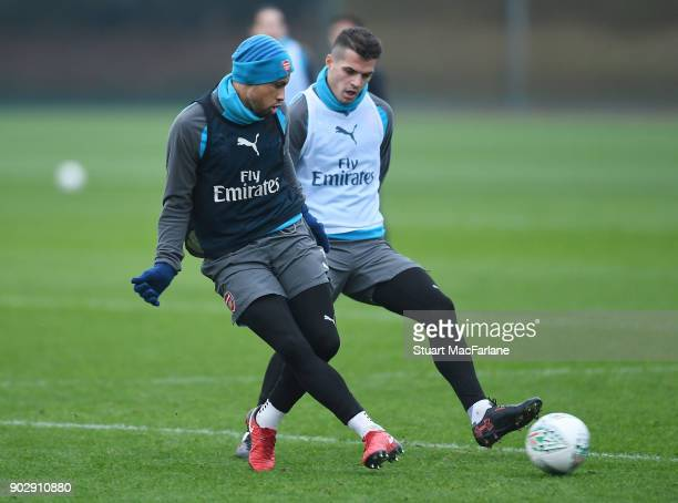 Francis Coquelin and Granit Xhaka of Arsenal during a training session at London Colney on January 9 2018 in St Albans England