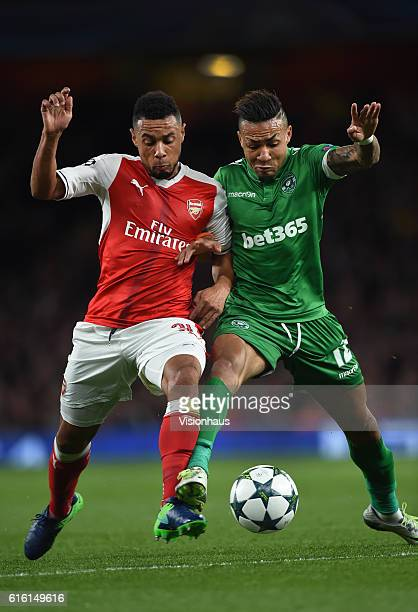 Francis Coquelin of Arsenal and Anicet Abel of PFC Ludogorets Razgrad in action during the UEFA Champions League match between Arsenal FC and PFC...