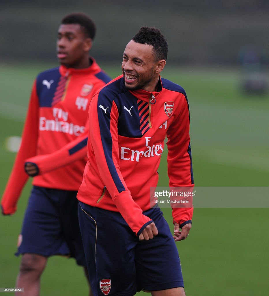Francis Coquelin of Arsenal during a training session at London Colney on October 16, 2015 in St Albans, England.