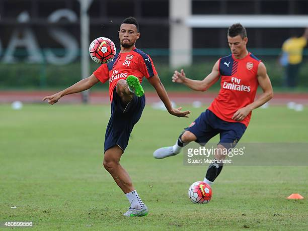 Francis Coquelin of Arsenal during a training session at Singapore American School on July 16 2015 in Singapore