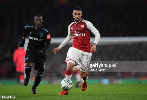Francis Coquelin of Arsenal in action during the Carabao Cup quarter final match between Arsenal and West Ham United at Emirates Stadium on December...