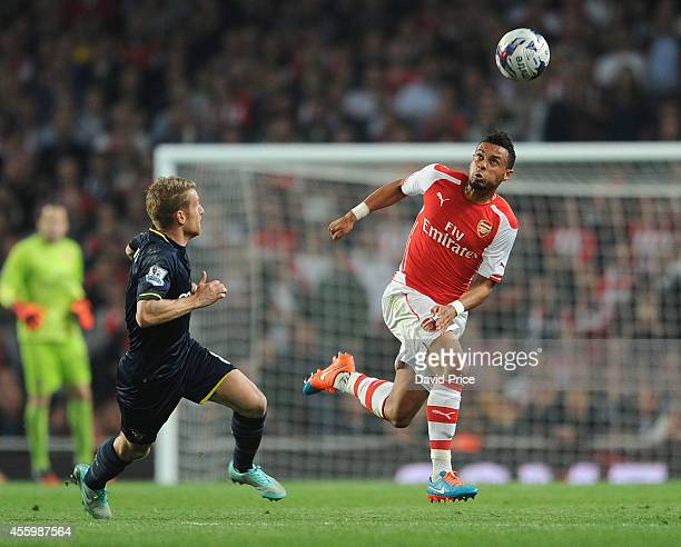 Francis Coquelin of Arsenal takes on Steven Davis of Southampton during the Capital One Cup 3rd match between Arsenal and Southampton at Emirates...