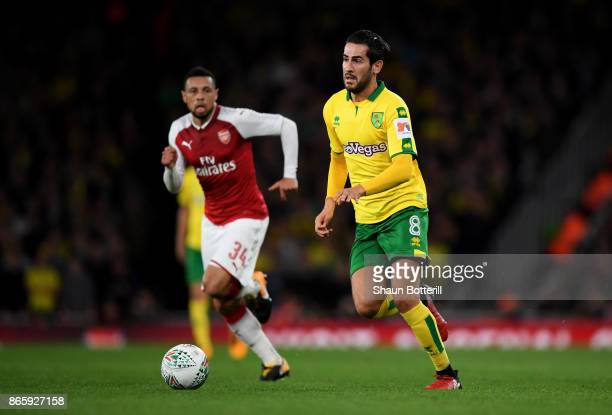 Francis Coquelin of Arsneal and Mario Vrancic of Norwich City in action during the Carabao Cup Fourth Round match between Arsenal and Norwich City at...