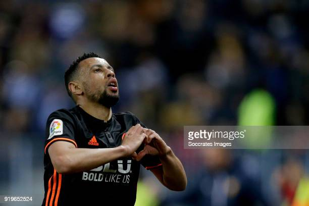 Francis Coquelin of Valencia CF celebrates 11 during the La Liga Santander match between Malaga v Valencia at the Estadio La Rosaleda on February 17...