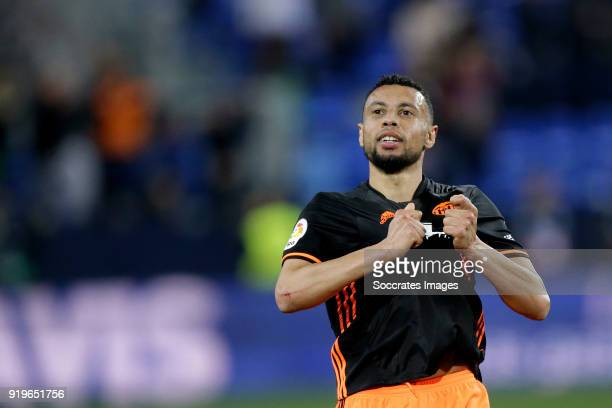 Francis Coquelin of Valencia CF celebrates the victory during the La Liga Santander match between Malaga v Valencia at the Estadio La Rosaleda on...