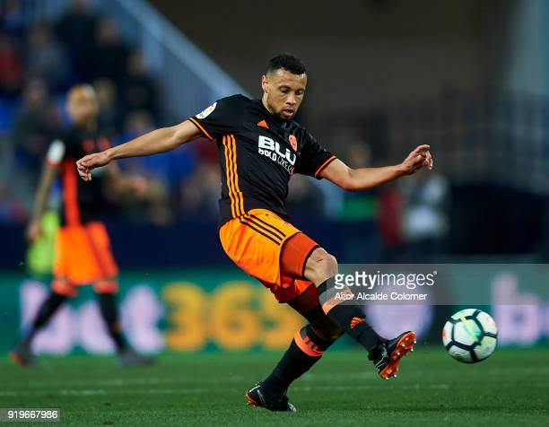 Francis Coquelin of Valencia CF controls the ball during the La Liga match between Malaga CF and Valencia CF at Estadio La Rosaleda on February 17...