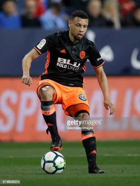 Francis Coquelin of Valencia CF during the La Liga Santander match between Malaga v Valencia at the Estadio La Rosaleda on February 17 2018 in Malaga...